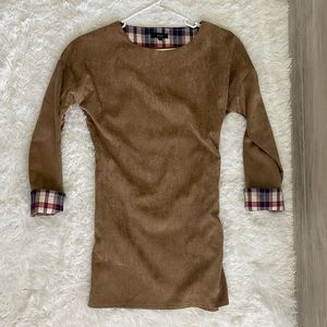 ✨ Brown Camel Suede Plaid Cuff Long Sleeve Dress